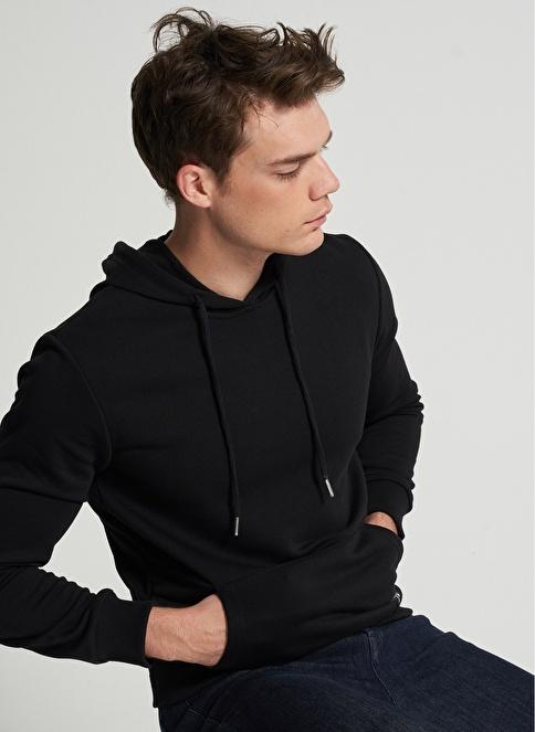 Pi π Kapüşonlu Kanguru Cepli Sweatshirt Siyah